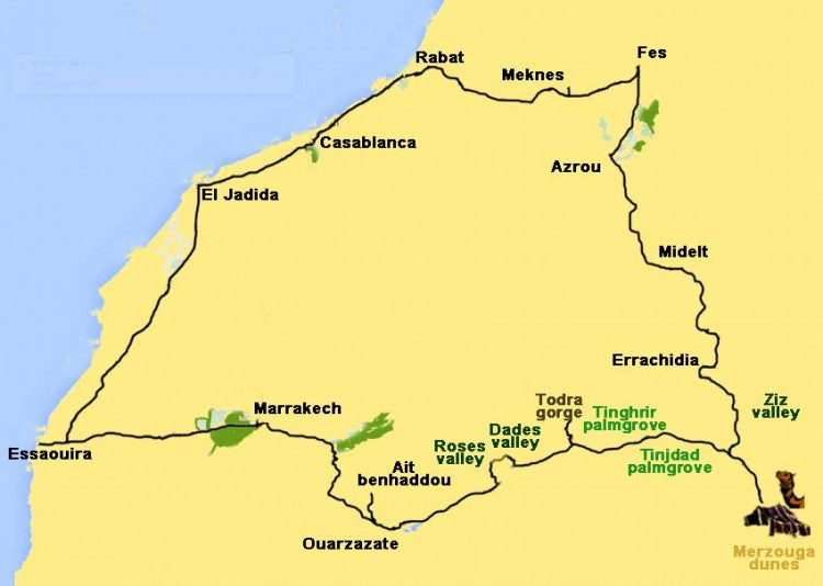 excursion from Casablanca to Imperial Cities, Sahara desert and Atlantic coast - 12 days
